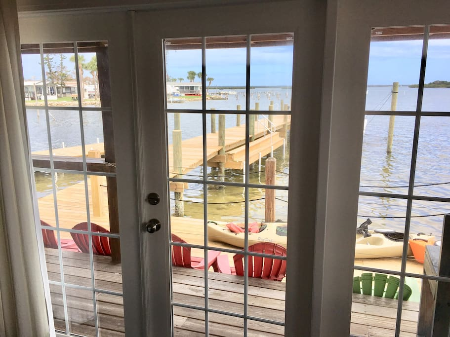 View of the lagoon through the french doors.