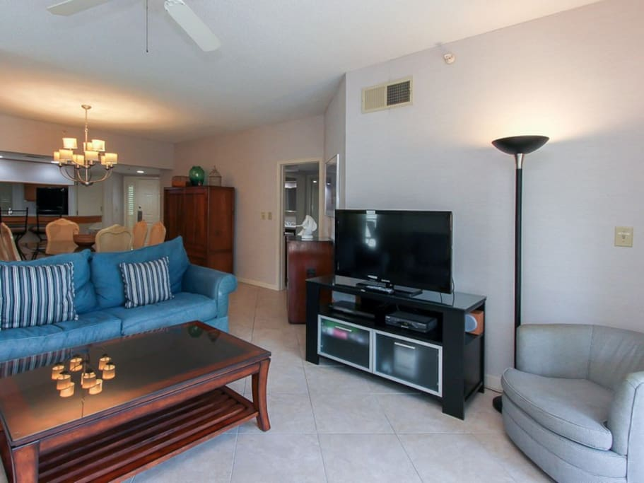 The Living Area in 107 Barrington Arms has a large flat panel TV and DVD player