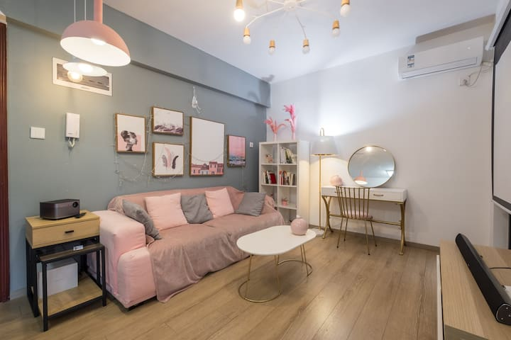 Pink  style apartment with projector &open kitchen