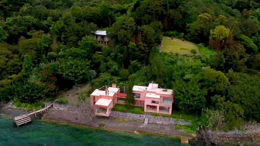 Anzan House  | Pink House - Casa Rosada as local calls it |  Grey -   Anzan Loft is located on the left  corner