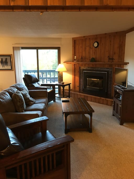 Living Room,  Flat screen TV-CD-VCR, pullout couch, lounge chairs, one switch ventless gas fireplace