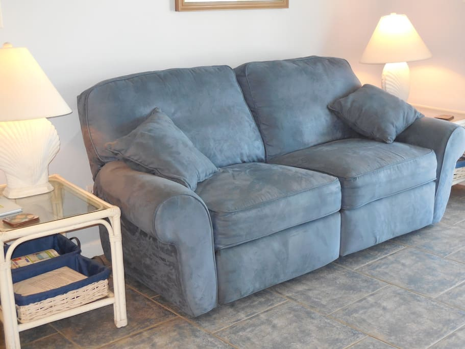 double recliner sofa for relaxing after a hard day at the beach
