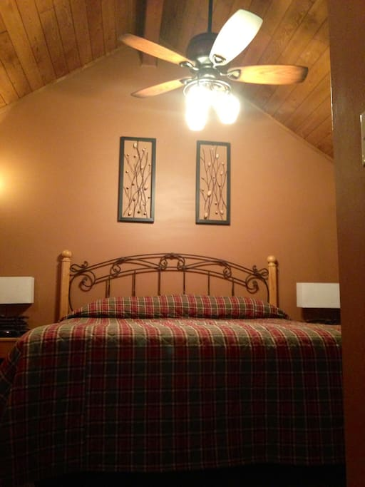 King master enclosed loft with skylight, 4 windows, walk in closet, TV, DVD, and attached full bath.  Bed and premium mattress brand new August 2018! Photo not yet updated.