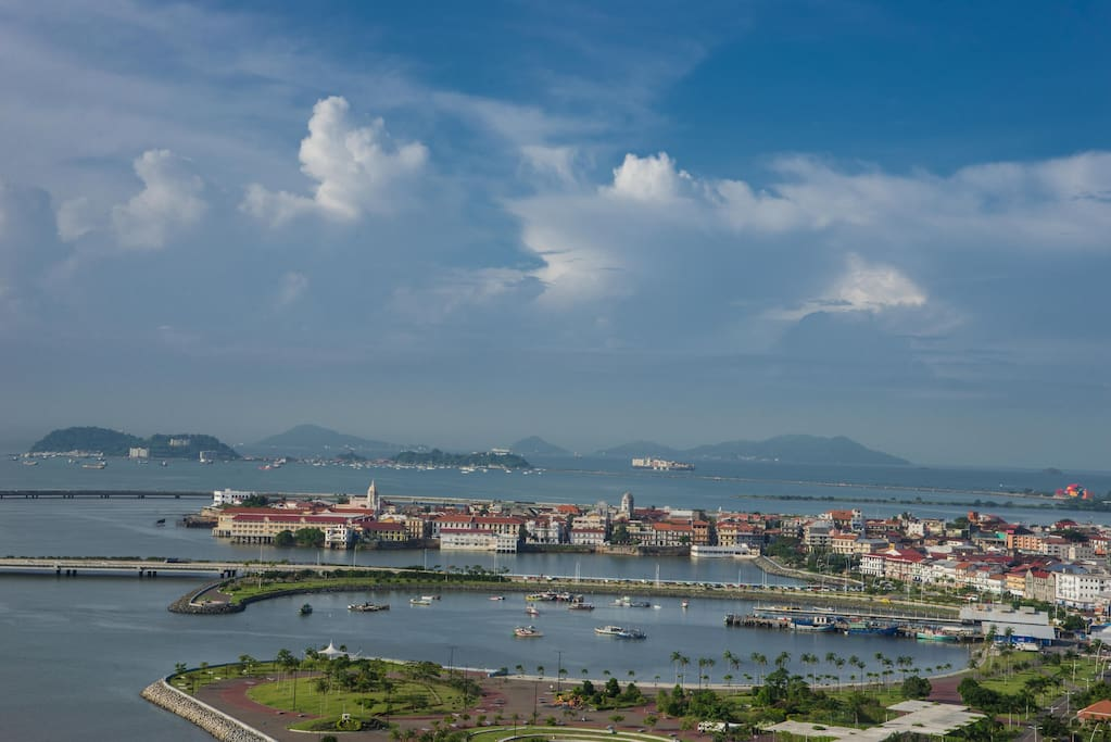 View of Casco Viejo and the entrance of the Panama Canal from the apartment