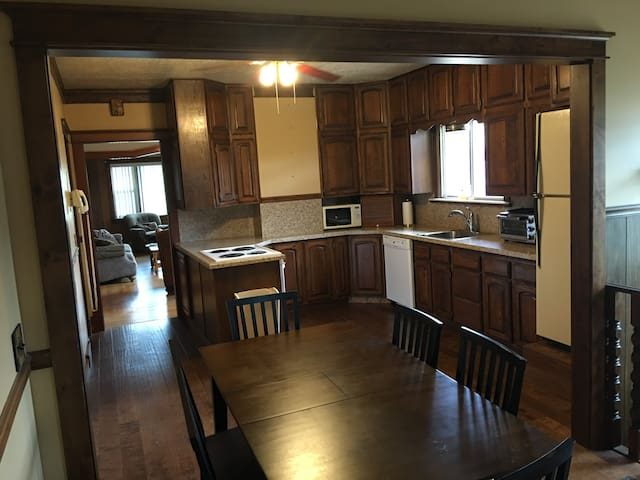 Big Kitchen with all the basics for cooking and socializing