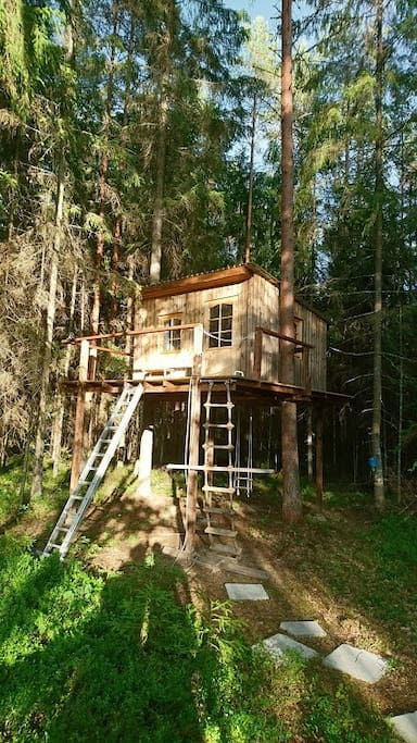 Treehouse is 3 meters above. There is rope-ladder (and metal-ladder if it is needed) to get up.