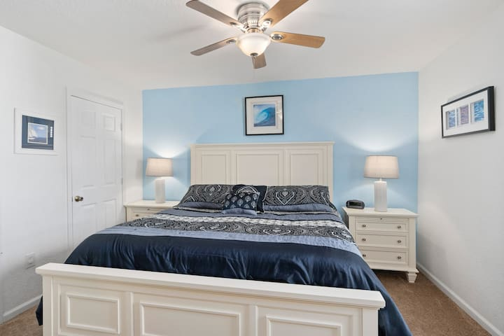 Front bedroom with king bed and ensuite