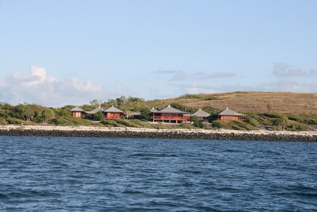 Camp Island.  View of the Bungalows and Main Guest House