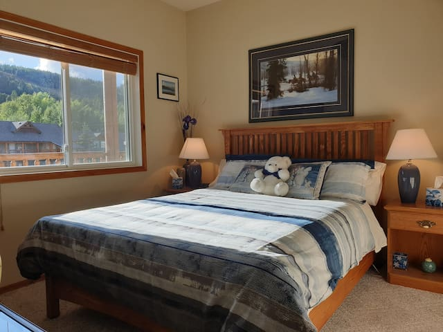 Bedroom 3 with view of the ski hill. En suite