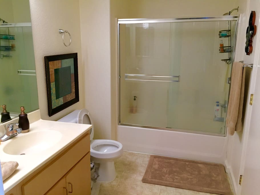 Good size bathroom with bath/shower