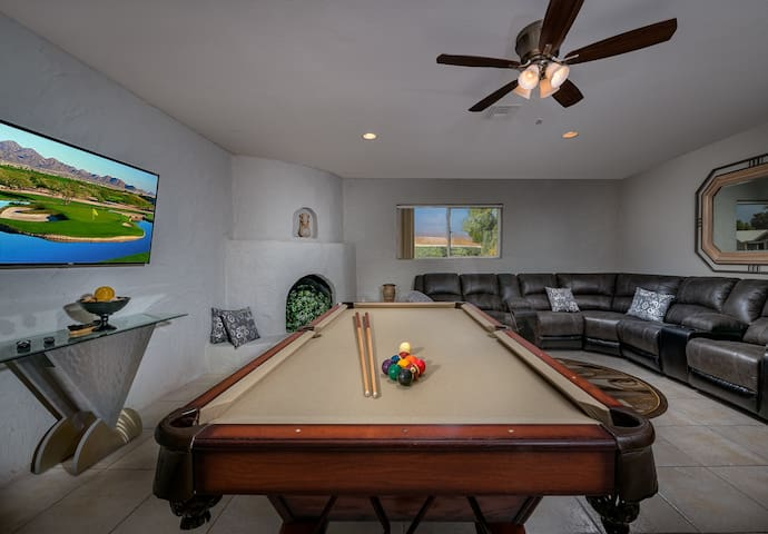 Family room with Pool Table and Foosball Table