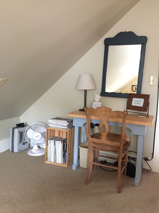 This is the desk in your bedroom.  As you can see there is a fan and a space heater to keep you comfortable.