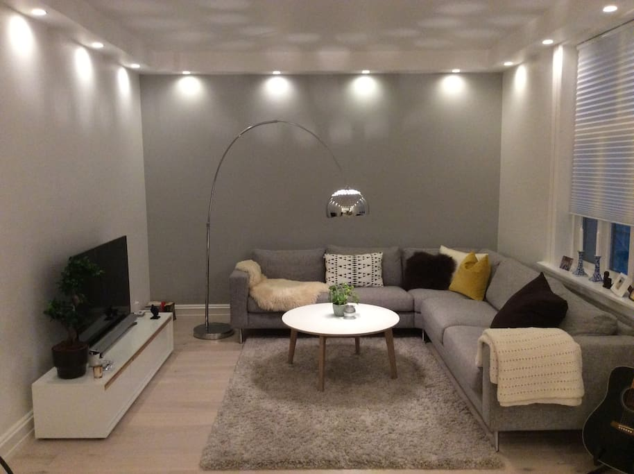 """Living room area with 50"""" TV"""