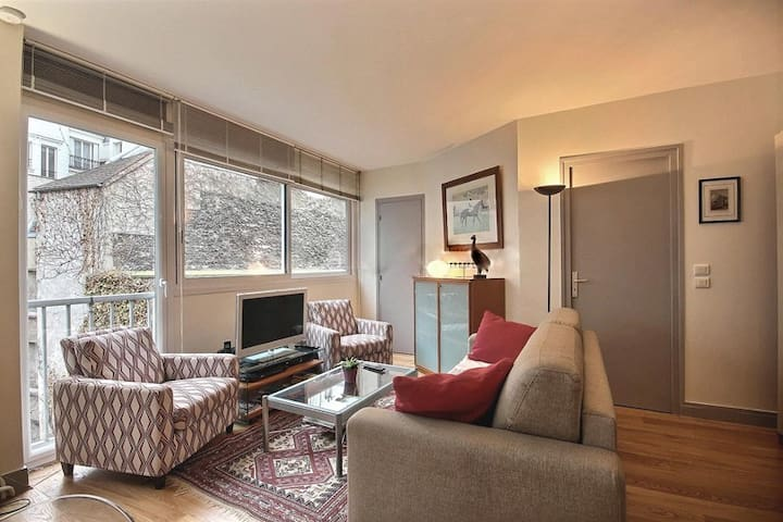 Living room:  The 25 square meters living room has a large bay window facing courtyard . It is equipped with : dining table for 4 people, sofa, coffee table, cable, TV, 2 armchairs, built-in shelves, hard wood floor.