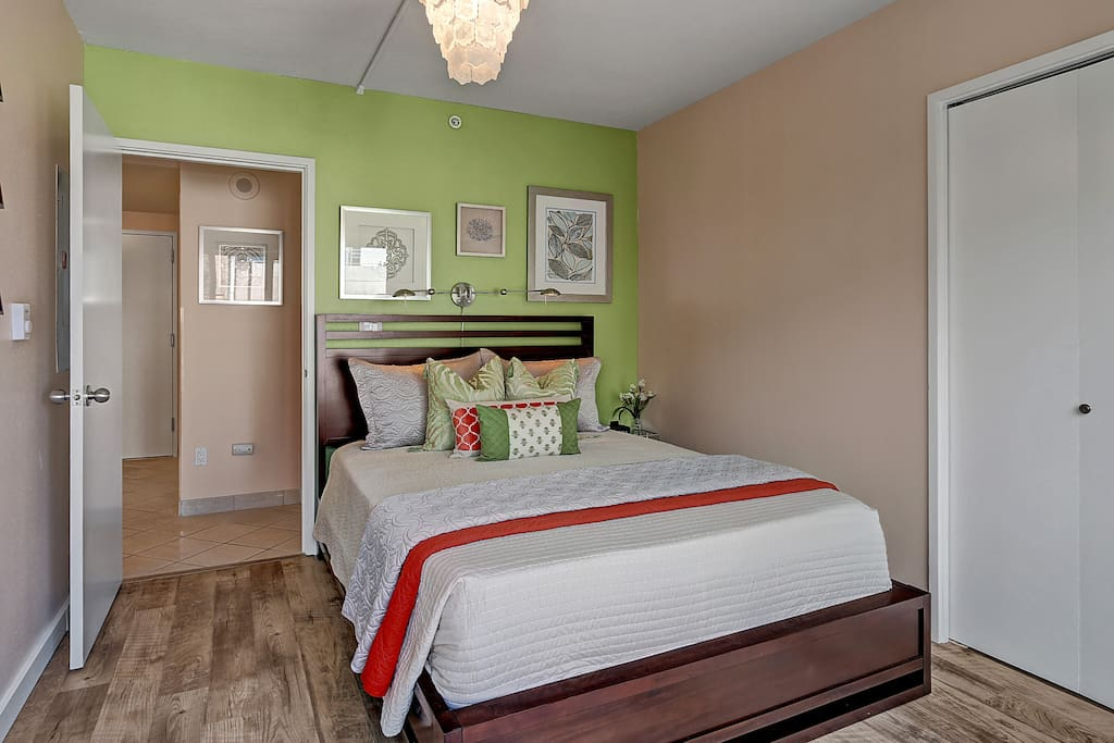 A bright bedroom helps stave off rainy day blues.