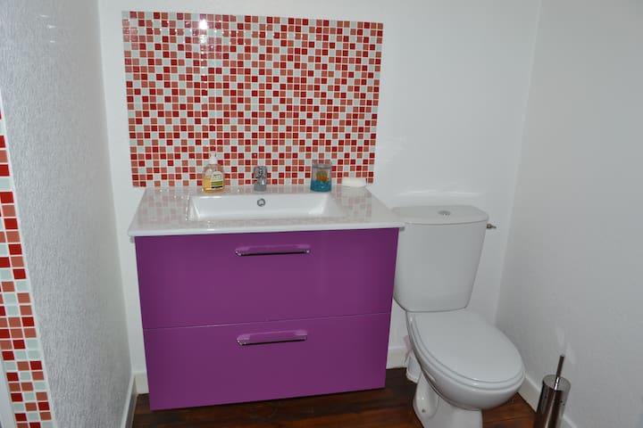 Salle de bain côté wc, lavabo