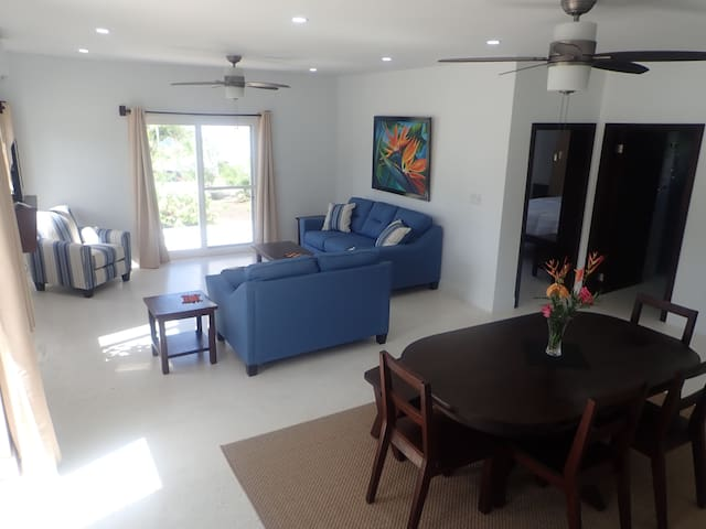 Comfortable living area with cable TV, wireless speaker and fast wifi.