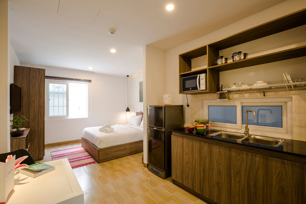 Welcome to the sweet room. The room has a kitchenette so you can cook whenever you want.