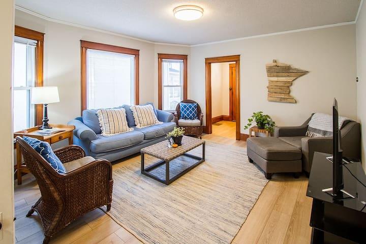 Large living room full of natural light