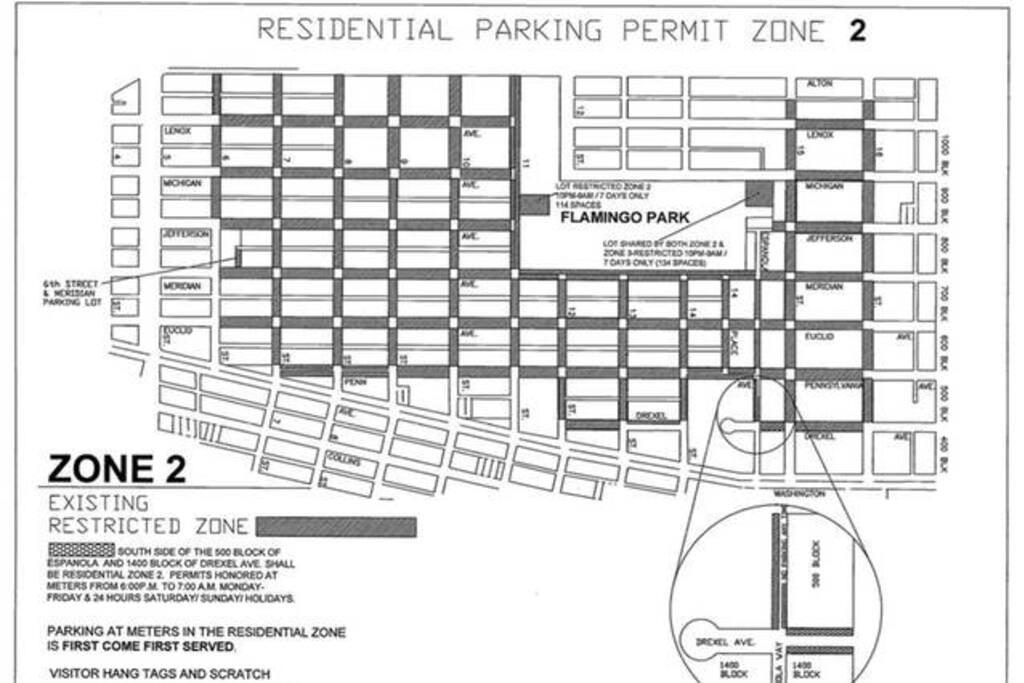 Free Parking on Miami Beach within this Zone