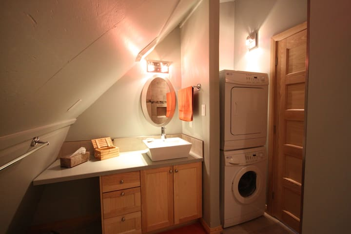 The bathroom is complete with a tiled shower and washer/dryer.