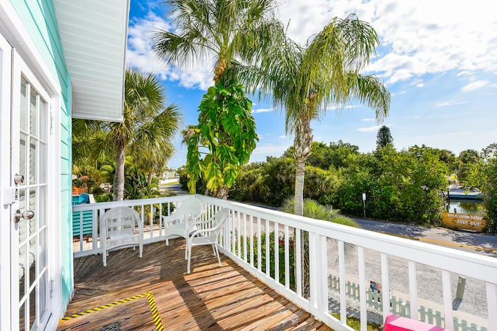 1 bedroom with private patio, 1 block to village
