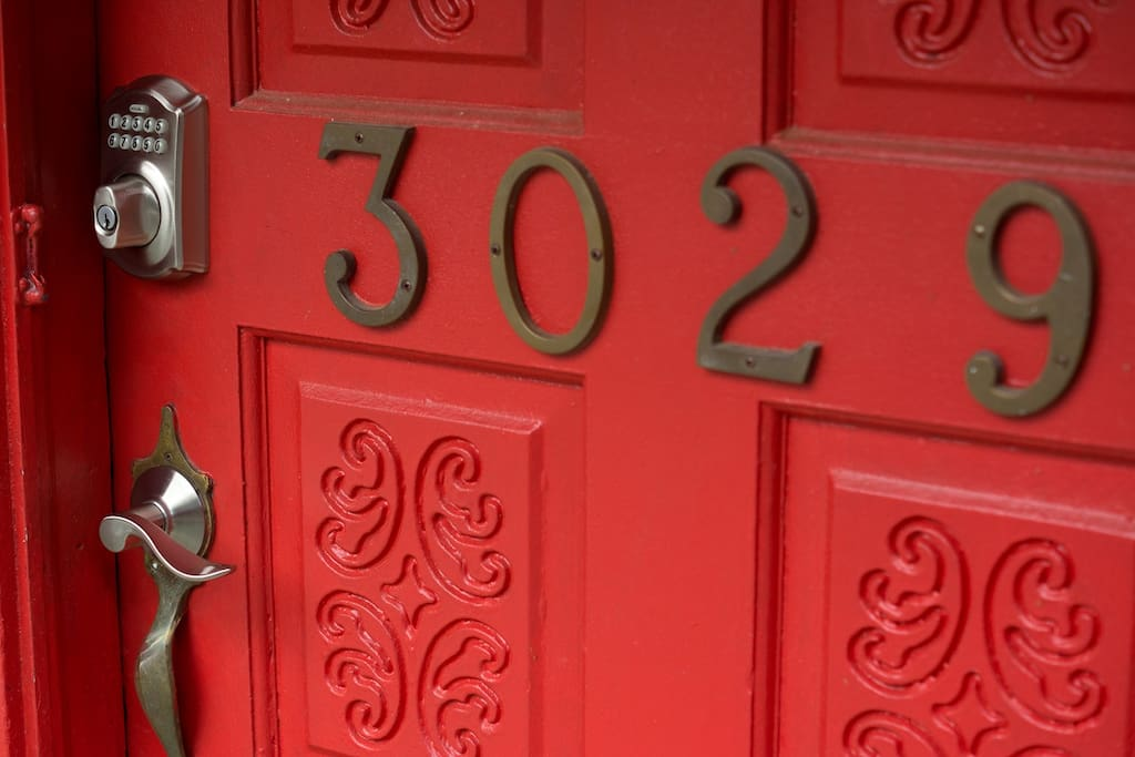 Distinctive Red Door with 24 hour Self Entry