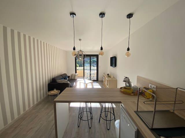 Appartement t2 rénové à 2 min Plage/Clim/balcons