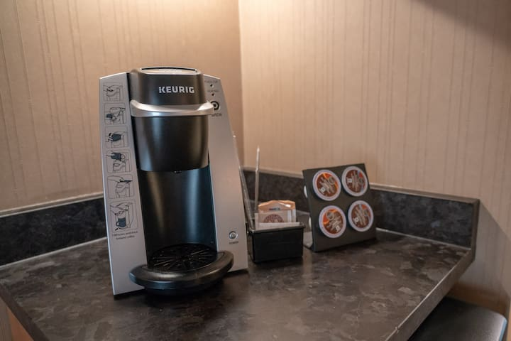 Wonderful coffee and tea amenities are available to you in room