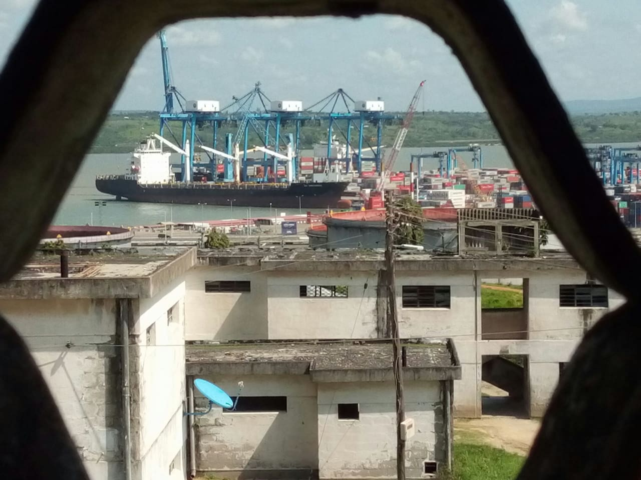 port view, naval base and Indian ocean.