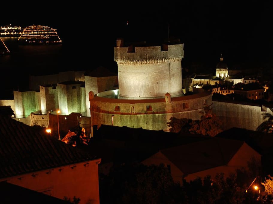 Night view on the Old Town and the Adriatic sea from the 4-star apartment master bedroom balcony