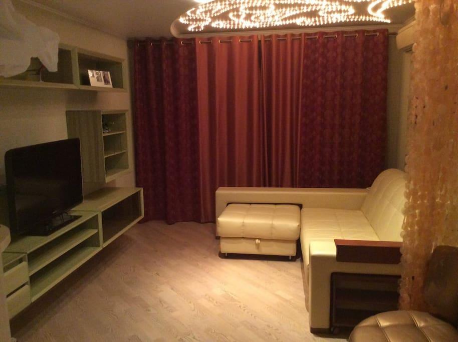 Гостиная с большим раскладывающимся кожаным диваном