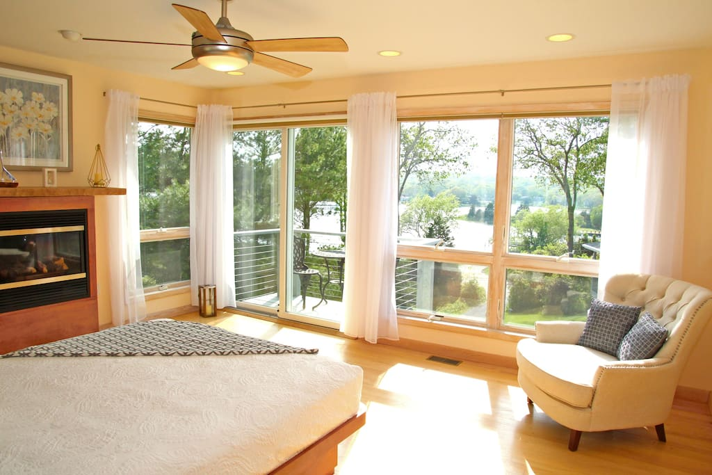 Master Bedroom with Balcony, and Three Mile Harbor Water View
