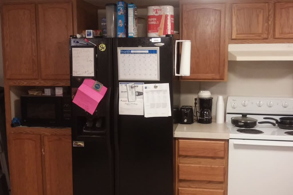 Fridge, microwave,toaster, coffee maker and stove