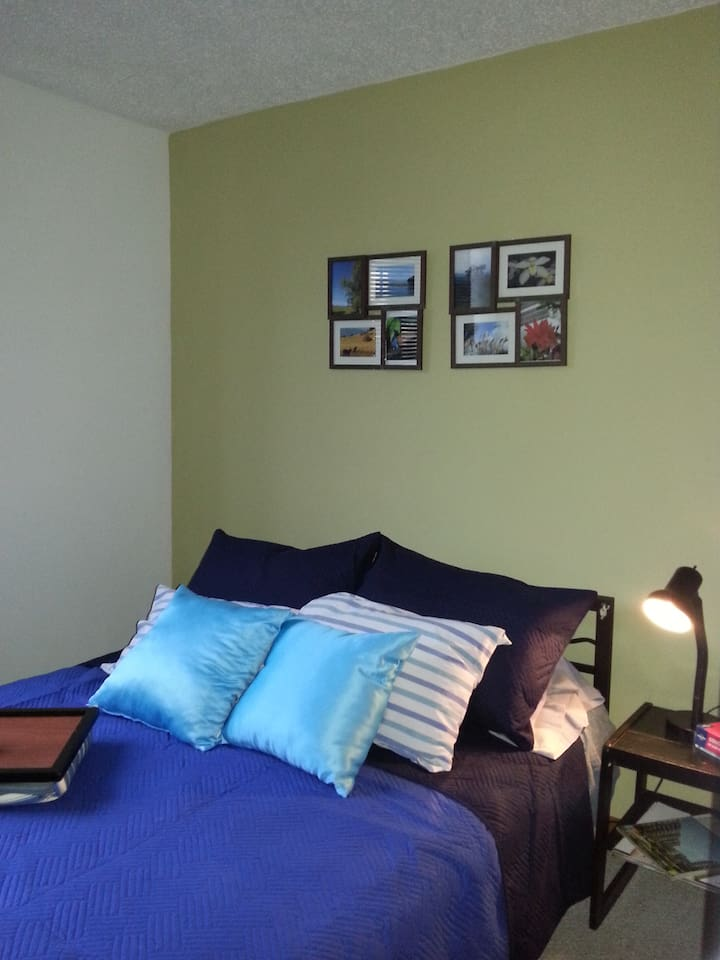 la habitación cuenta con una cama doble