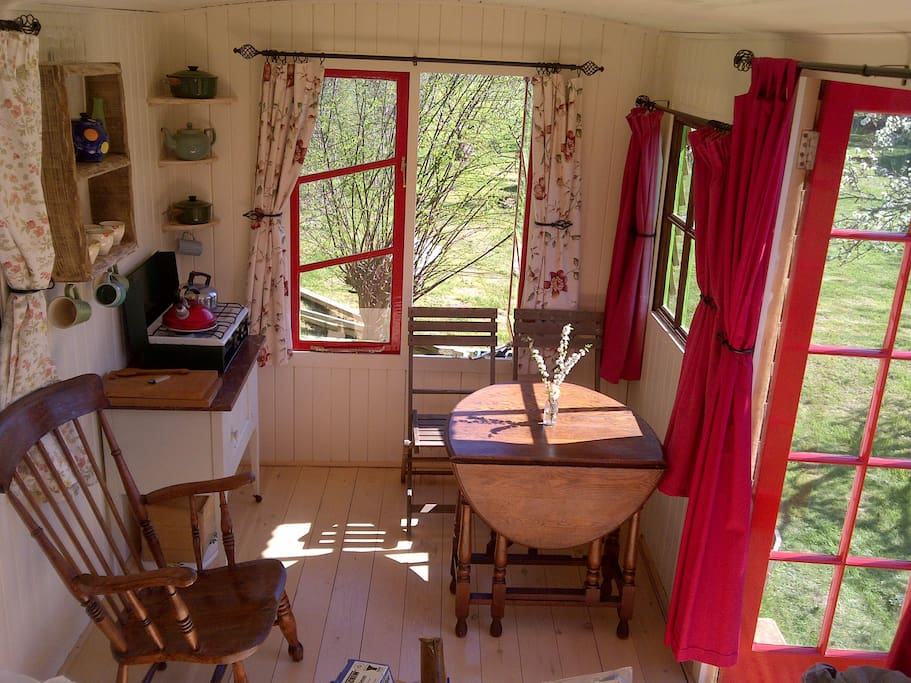 Table, chairs, cooker etc.