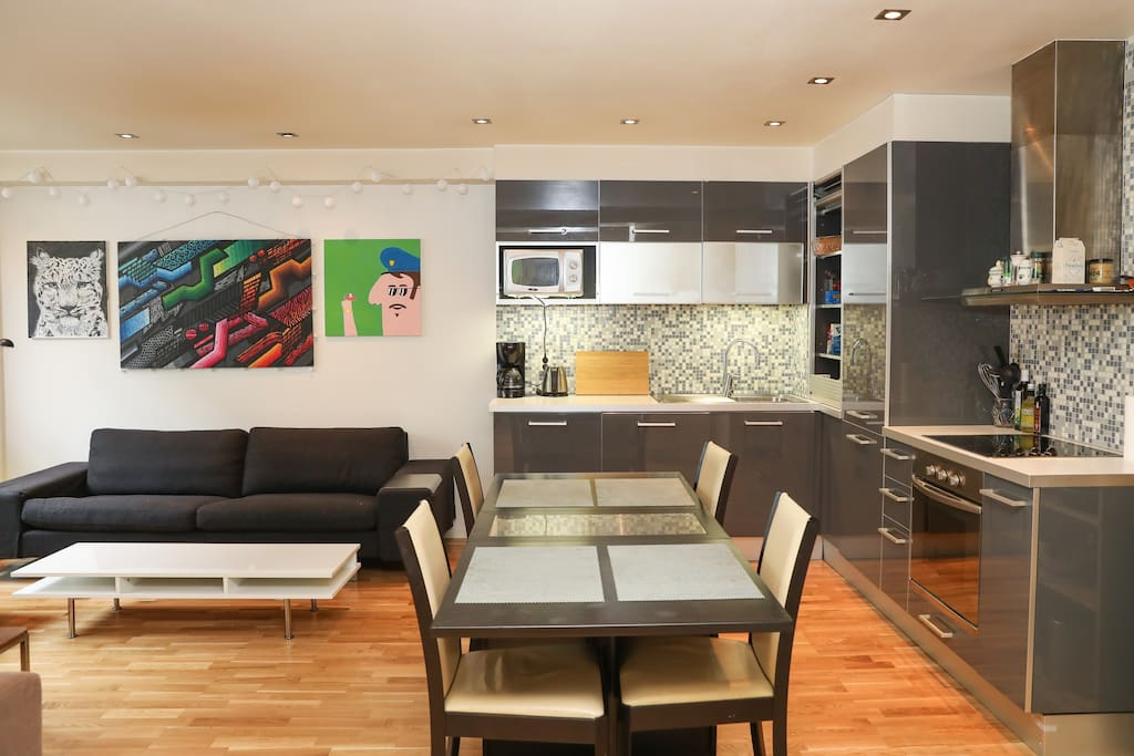 Integrated kitchen and living room. The kitchen is fully equipped with big fridge, freezer, oven, stove, micro, dishwasher, coffeemaker, water boiler, and everything you need!
