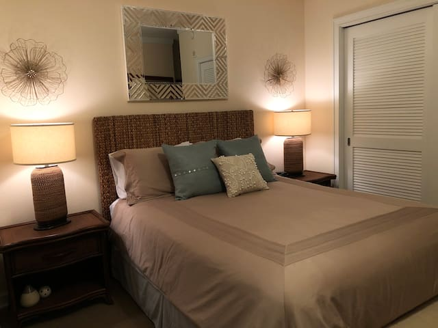 Luxury linens and ample storage will make your stay in Biloxi super comfy.