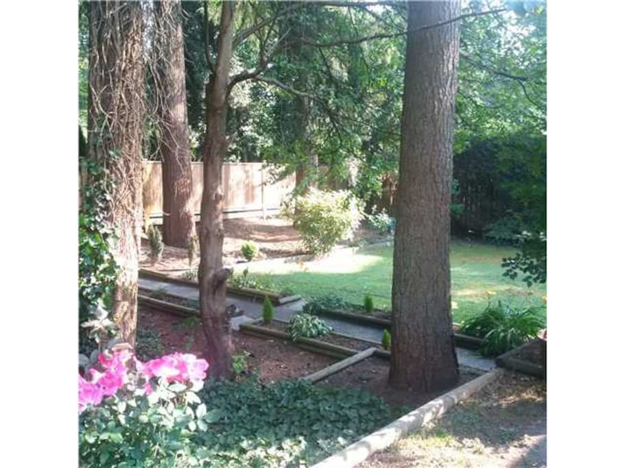 The large backyard you walk through to get to your own private entrance