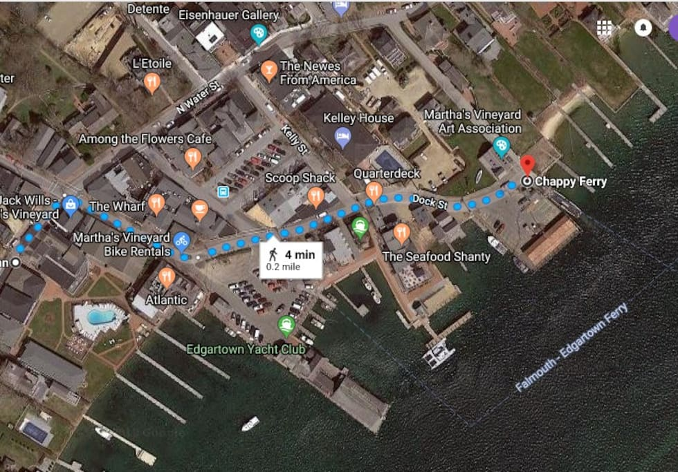Less than a 4 min. walk to the Chappaquidick Ferry (and - in an amazing coincidence - bike rentals are right outside your door!) (Courtesy of GoogleMaps)