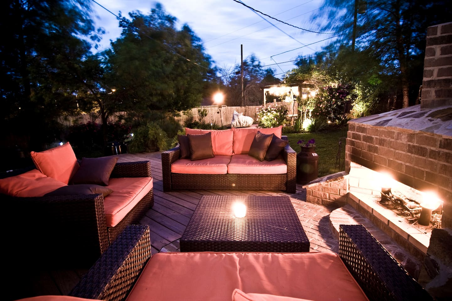 The back garden seating area and outside fireplace - STRP # 201517383
