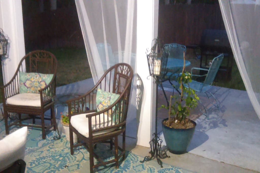 This is the back patio, great place for morning coffee to relax and unwind