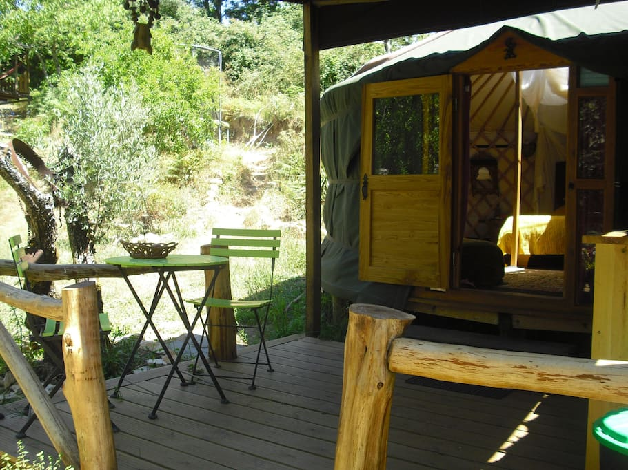 Woodland yurt exterior deck