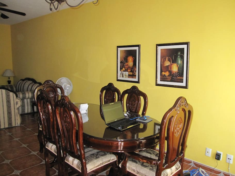 Dining room table, seating for six.