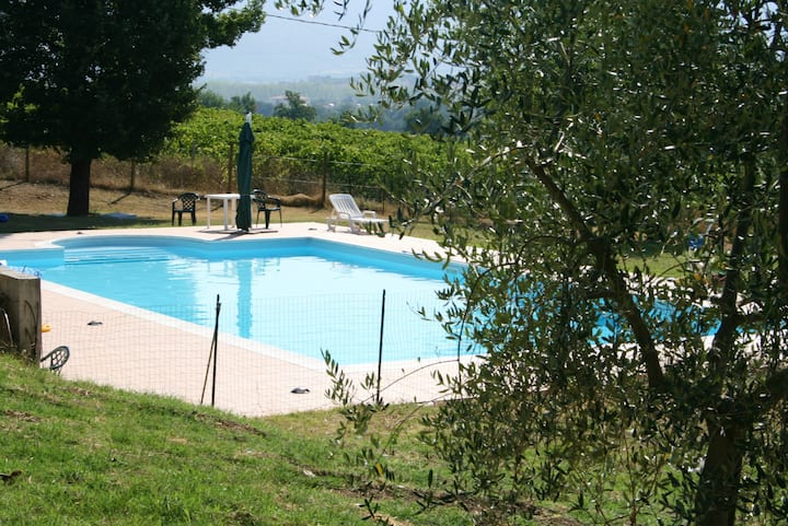 Apartment with one bedroom in Spoleto, with wonderful city view, shared pool, enclosed garden - 100 km from the beach