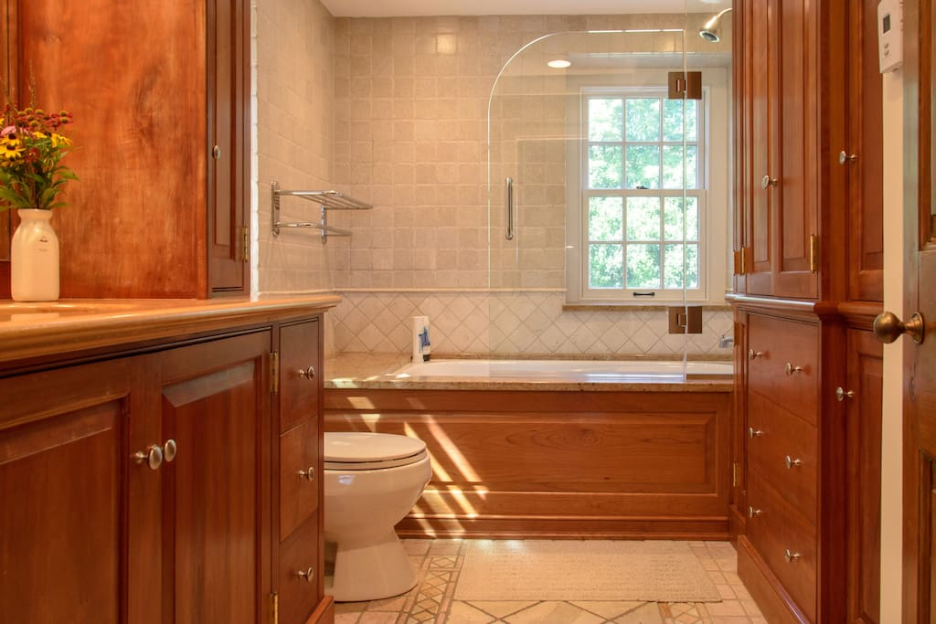Private bathroom with beautiful tub and heated floor