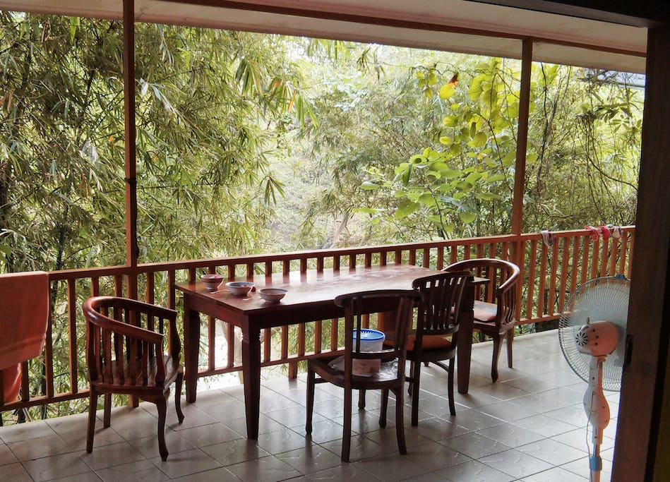 veranda downstairs, overlooking the Ciliwung River