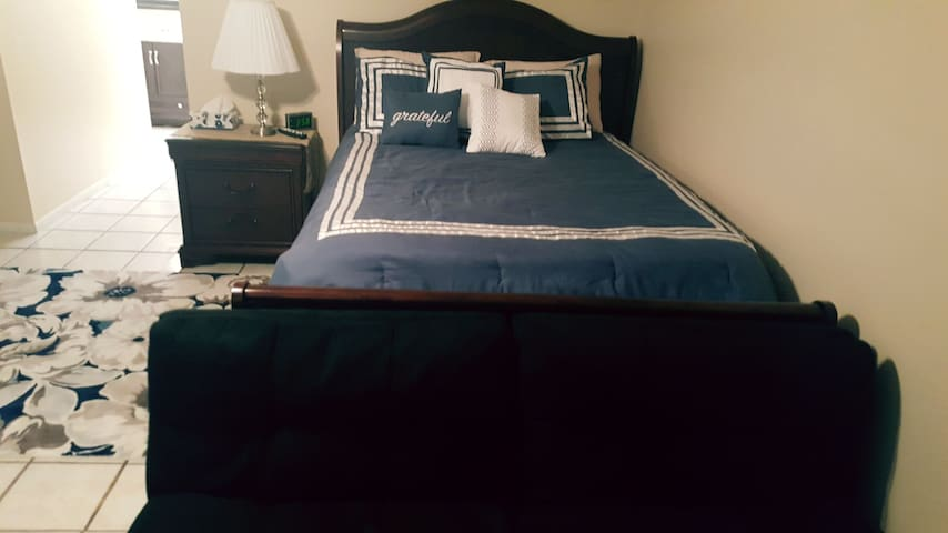 Queen size bed, fold-out couch, nightstand with lamp and area rugs.