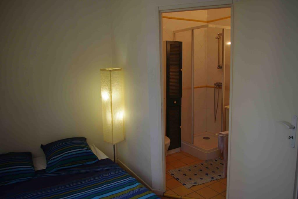 Canapé-lit et salle d'eau
