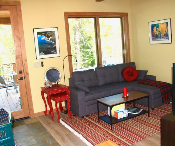 Living area, sofa bed, TV, Gas Fireplace